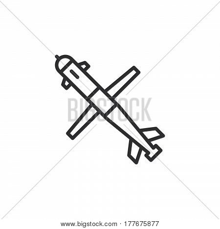 Cruise missile line icon outline vector sign linear pictogram isolated on white. Symbol logo illustration