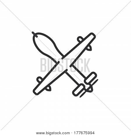 Unmanned aerial vehicle military drone line icon outline vector sign linear pictogram isolated on white. Symbol logo illustration