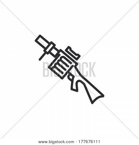 Grenade launcher line icon outline vector sign linear pictogram isolated on white. Symbol logo illustration