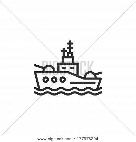 Battleship line icon outline vector sign linear pictogram isolated on white. Symbol logo illustration