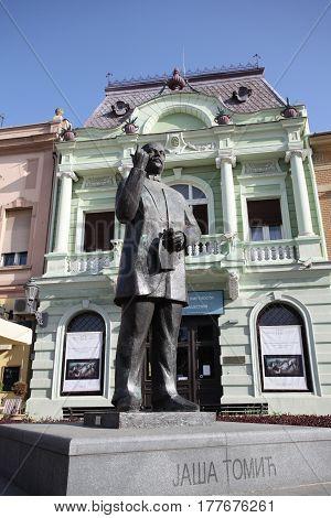 Novi Sad, Serbia: march 1. 2017 - Monument of Jasa Tomic in Old town in Novi Sad - Serbia