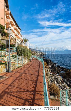 Anita Garibaldi walk Genova Nervi Italy in summer
