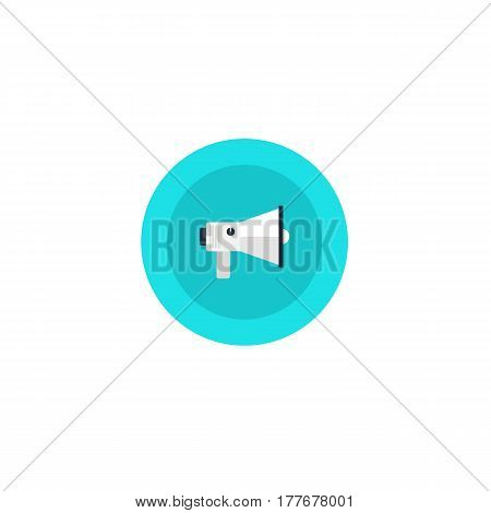 Illustration Blue Icon Speaker In Circle On Flat Design