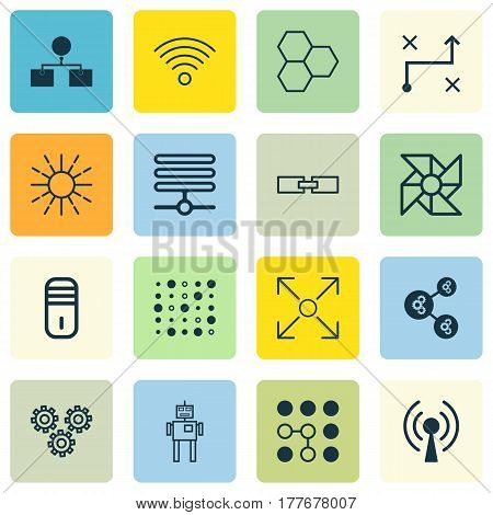 Set Of 16 Machine Learning Icons. Includes Mainframe, Wireless Communications, Related Information And Other Symbols. Beautiful Design Elements.