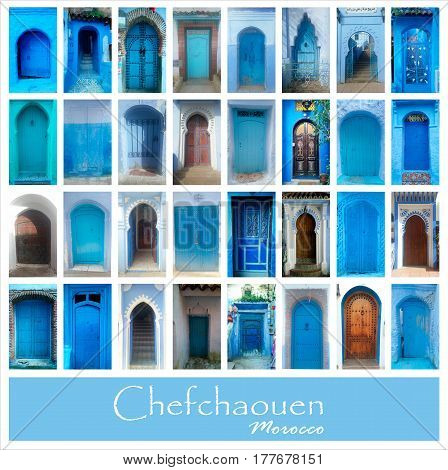 Collage of old blue doors of Chefchaouen, Morocco. Big photo set