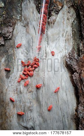Goji Berries And Clove On Aged Pine. Grunge