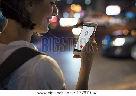 Adult Woman Using Mobile Phone Night Time