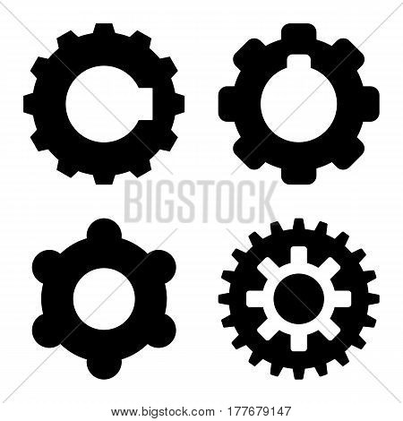 Gearwheel icon set. Flat black symbol collection. Pictograms are isolated on a white.
