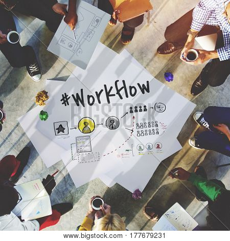 Process Network Workflow Teamwork Infographic