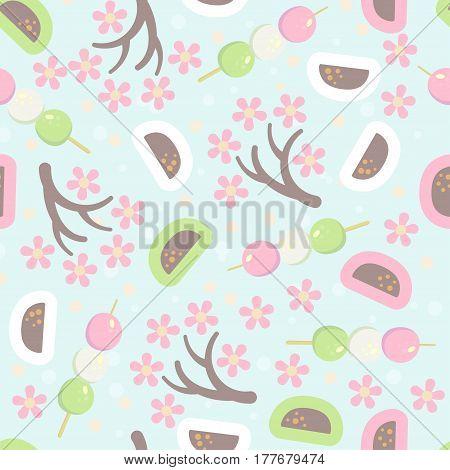 Hanami festival seamless pattern with blooming sakura pink lantern and hanami picnic desserts