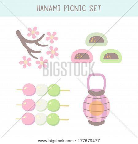 Hanami festival set with blooming sakura pink lantern and hanami picnic desserts