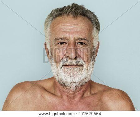 Senior adult man mustache bare chest studio portrait