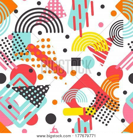Memphis pattern with geometric shapes. Absolutely seamless trendy hipster background.