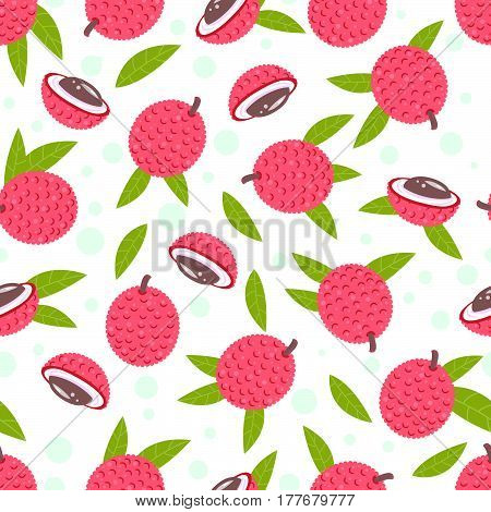 Vector illustration of Lychee fruit . All objects are conveniently grouped and easily editable