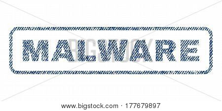 Malware text textile seal stamp watermark. Blue jeans fabric vectorized texture. Vector caption inside rounded rectangular banner. Rubber emblem with fiber textile structure.