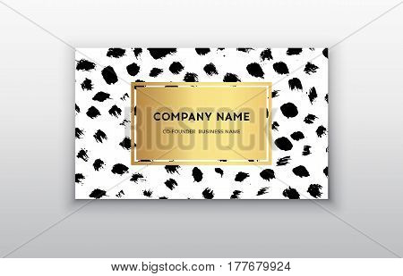 Vector gold business card templates with brush stroke background.Vector design concept. For stylist makeup artist photographer. Stylish elegant business cards template. Dark brush dots