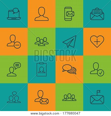 Set Of 16 Social Icons. Includes Phone Messaging, Team, Confirm Profile And Other Symbols. Beautiful Design Elements.