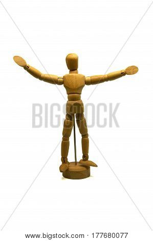 welcoming wooden mannequin, puppet, isolated on white background