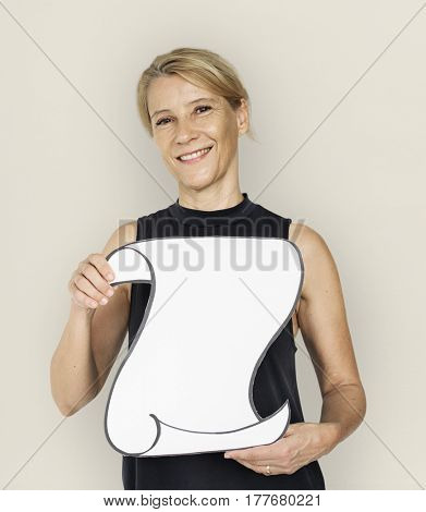 Woman Smiling Happiness Holding Banner Copy Space