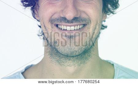 Beard Man Smile Face Expression Studio Portrait