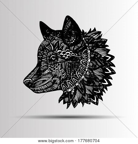 Wolf portrait. Vector abstract polygonal geometric illustration. Wolf head mascot.
