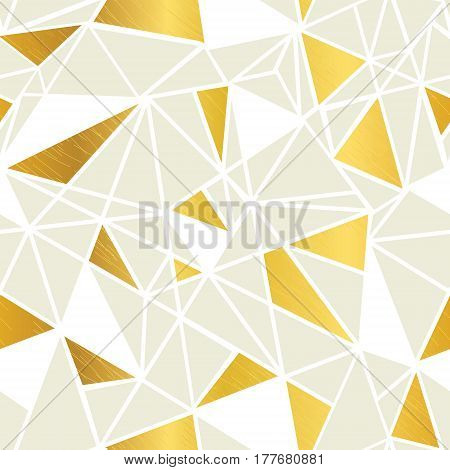 Vector Cream and Gold Foil Geometric Mosaic Triangles Repeat Seamless Pattern Background. Can Be Used For Fabric, Wallpaper, Stationery, Packaging. Surface pattern design.