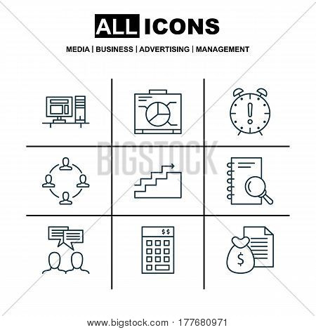 Set Of 9 Project Management Icons. Includes Collaboration, Growth, Investment And Other Symbols. Beautiful Design Elements.