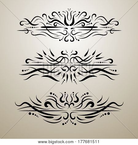 Vintage decor elements vector set. Wicker lines dividers. Floral calligraphic elegant ornament