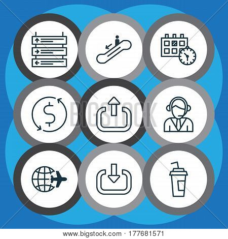 Set Of 9 Transportation Icons. Includes Drink Cup, Operator, Worldwide Flight And Other Symbols. Beautiful Design Elements.