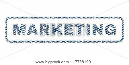 Marketing text textile seal stamp watermark. Blue jeans fabric vectorized texture. Vector tag inside rounded rectangular banner. Rubber sticker with fiber textile structure.
