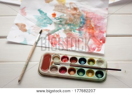 Children's Abstract Pattern And Palette With Brush