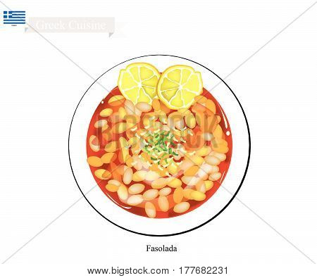 Greek Cuisine Fasolada or Bean Soup made with Cannellini Beans Olive Oil and Vegetables. The National Dish of Greece.