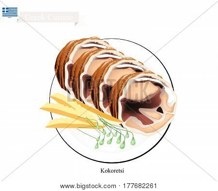 Greek Cuisine Illustration of Traditional Grilled Kokoretsi or Rolls of Seasoned Lamb or Goat Offal Roasted on Wood Fire. One of The Most Popular Dish in Greece..
