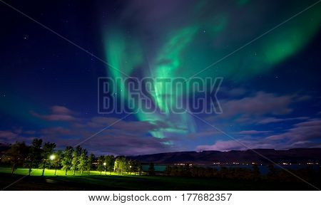 The northern lights in green in Iceland