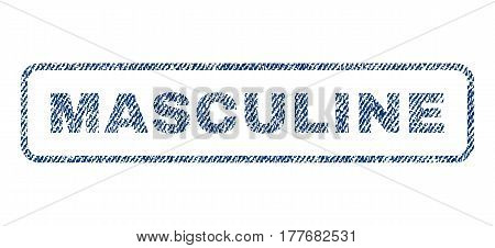 Masculine text textile seal stamp watermark. Blue jeans fabric vectorized texture. Vector caption inside rounded rectangular banner. Rubber sign with fiber textile structure.