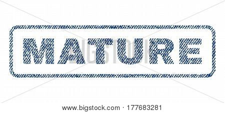 Mature text textile seal stamp watermark. Blue jeans fabric vectorized texture. Vector caption inside rounded rectangular shape. Rubber sign with fiber textile structure.