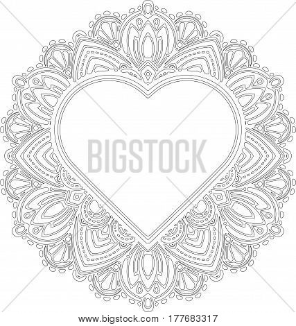 Circle lace ornament round ornamental geometric doily pattern with heart shaped empty space for text. Vector illustration greeting wedding invitation Valentine's card. Outline pattern for coloring.