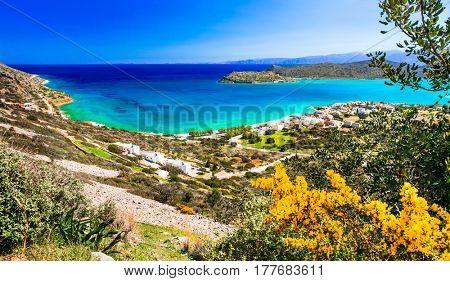 Crete island - beautiful view from Plaka to Spinalonga island, Greece