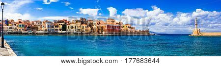 Landmarks of Greece - beautiful venetian town Chania in Crete island