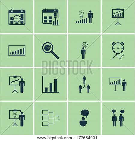 Set Of 16 Management Icons. Includes Planning, Decision Making, Opinion Analysis And Other Symbols. Beautiful Design Elements.