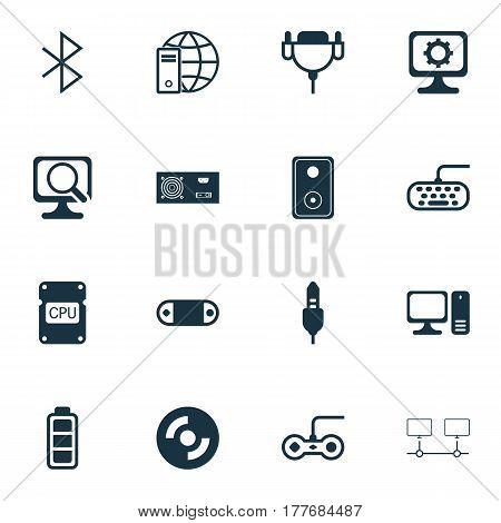 Set Of 16 Computer Hardware Icons. Includes Accumulator Sign, Joystick, Computer Keypad And Other Symbols. Beautiful Design Elements.