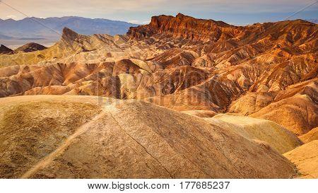 Landscape View Of Zabriskie Point In Death Valley Desert