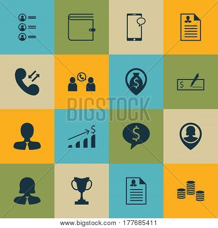 Set Of 16 Management Icons. Includes Tournament, Money, Phone Conference And Other Symbols. Beautiful Design Elements.