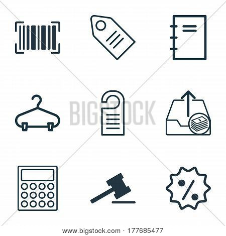 Set Of 9 Ecommerce Icons. Includes Price, Identification Code, Spiral Notebook And Other Symbols. Beautiful Design Elements.