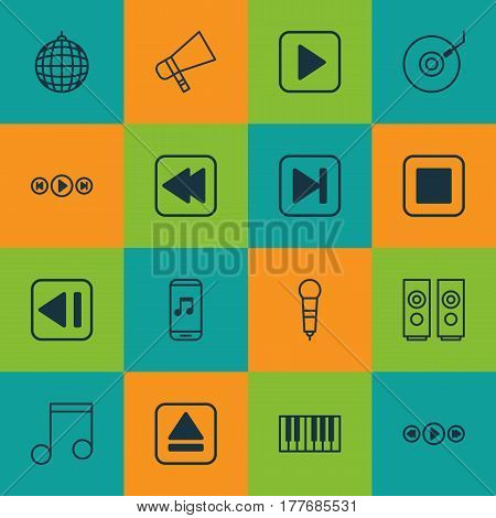 Set Of 16 Multimedia Icons. Includes Extract Device, Audio Mobile, Gramophone And Other Symbols. Beautiful Design Elements.