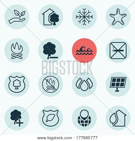 Set Of 16 Ecology Icons. Includes Pin Earth, Snow, Delete Woods And Other Symbols. Beautiful Design Elements.