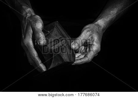 Man Shows An Empty Purse.