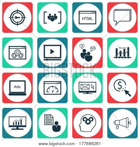 Set Of 16 Marketing Icons. Includes Search Optimization, Loading Speed, Coding And Other Symbols. Beautiful Design Elements.