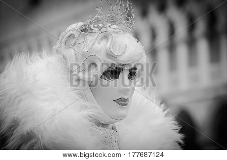 Venice, Italy - February 26th, 2011: deep look captured during the carnival parade in Piazza San Marco in Venice.