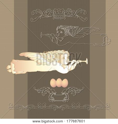 Template vector card with Easter egg, angel and vintage decorative element on taupe background.  Hand drawn retro illustration. Isolated, cartoon style.